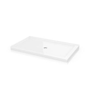 "Fleurco 2-ABF4836-18-L2 2 Sided Rectangular Acrylic Shower Base with Center Drain and 2 Integrated Tile Flanges With Base Size: 48"" x 36"" x 3"" And Base Direction: Left Side And Finish: White"