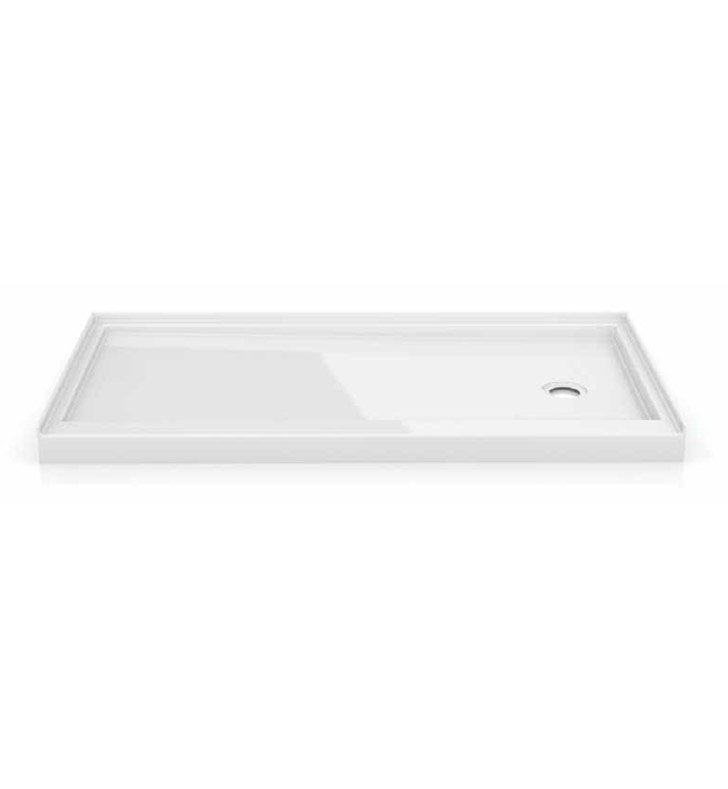 Fleurco ABF6032-18-R3 In-Line Rectangular Acrylic Single Threshold Shower Base with 3 Integrated Tile Flanges & Side Drain Position With Base Direction: Right Side And Finish: White