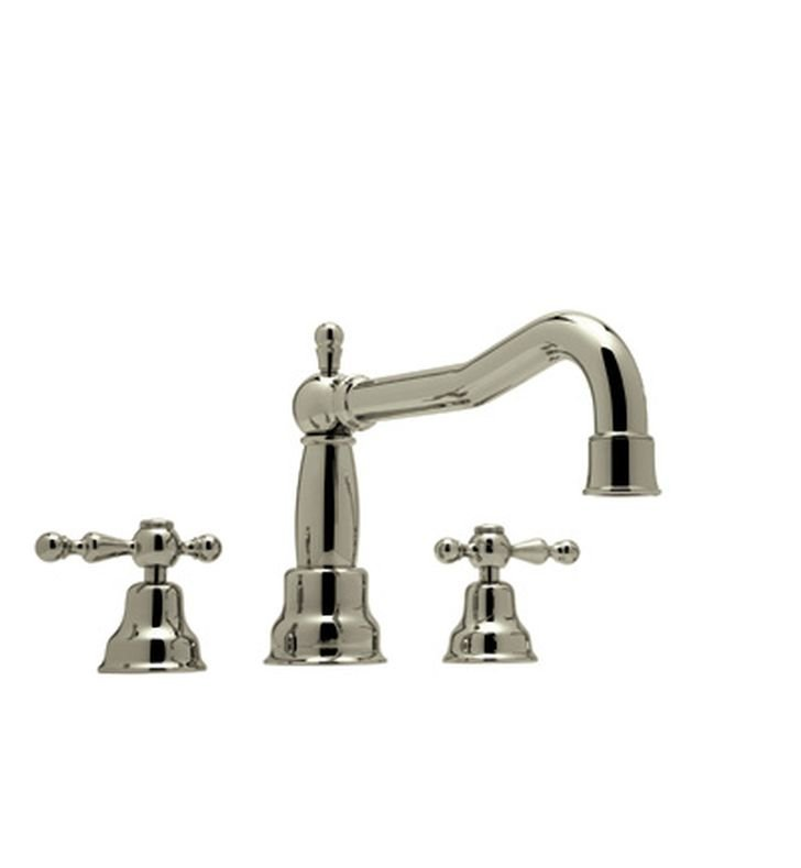 Rohl AC252OP-STN Cisal Arcana 3-Hole Deck Mount Bathtub Filler With Ornate Porcelain Handles in Satin Nickel