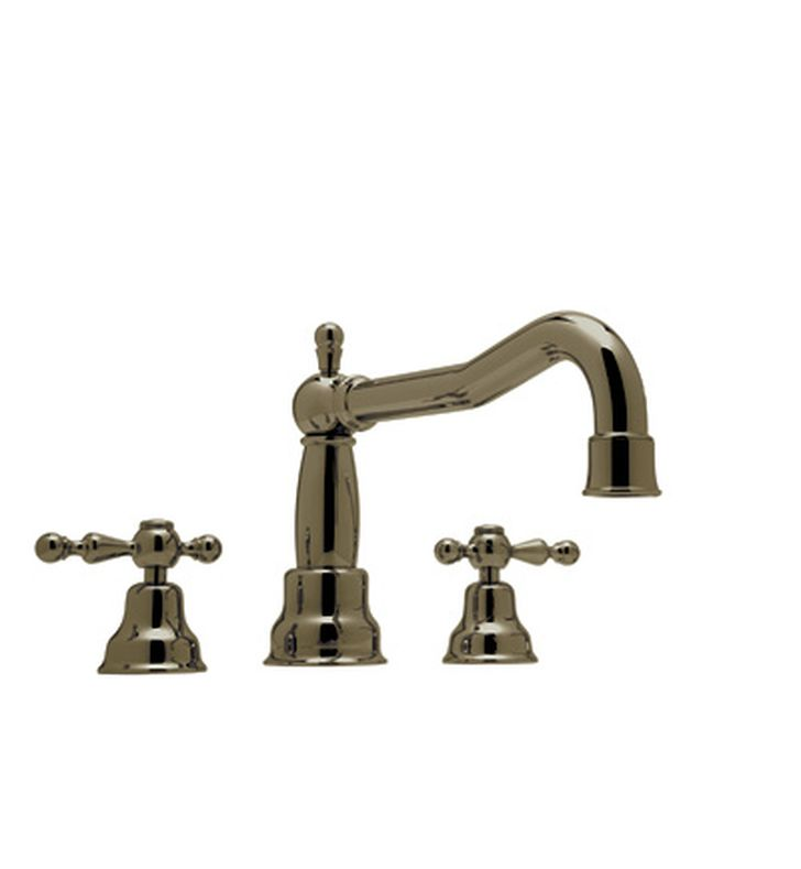 Rohl AC252OP-TCB Cisal Arcana 3-Hole Deck Mount Bathtub Filler With Ornate Porcelain Handles in Tuscan Brass
