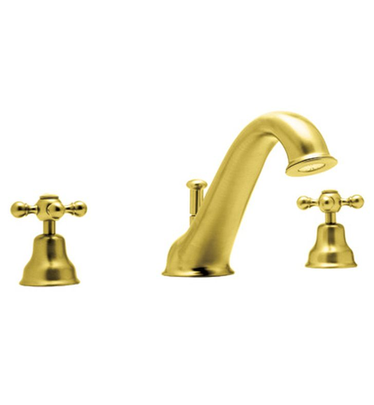 Rohl AC25X-IB Cisal Arcana 3-Hole Deck Mount Tub Filler With Cross Handles in Inca Brass