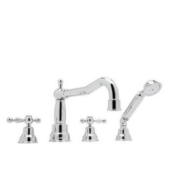 "Rohl AC262LM-STN Arcana 9 7/8"" Two Handle Widespread/Deck Mounted Victorian Spout Roman Tub Filler with Handshower With Finish: Satin Nickel And Handles: Metal Levers"