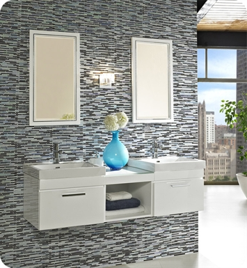 "Fairmont Designs 177-WV21_WB1818_WV21 Metropolitan 60"" Modular Wall Mount Modern Bathroom Vanity and Sink Set High Gloss White"