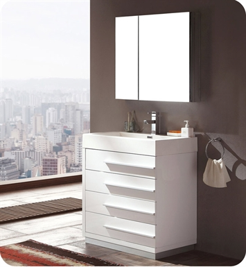 "Fresca FVN8030WH Livello 30"" Modern Bathroom Vanity with Medicine Cabinet in White"