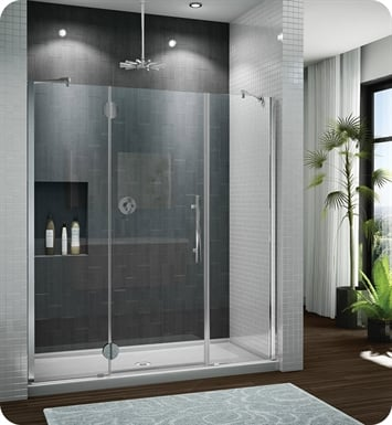 Fleurco PXTP Platinum In Line Door and 2 Panels with Glass to Glass Hinges and Pivot Support Bar