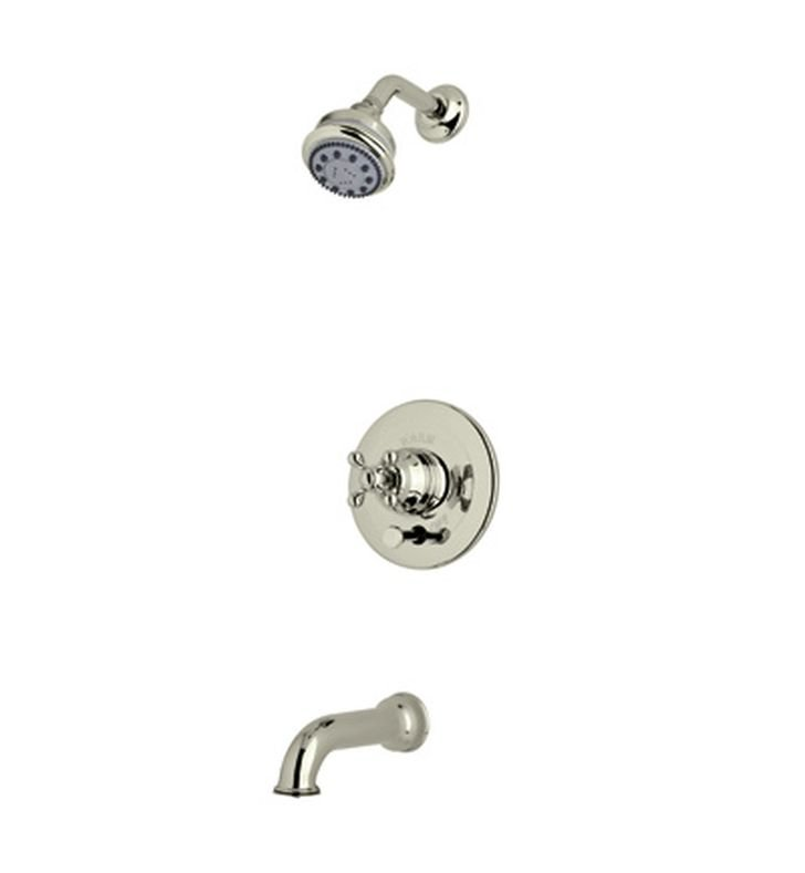 Rohl ACKIT21OP-STN Cisal Arcana Shower Package With Ornate Porcelain Handle in Satin Nickel