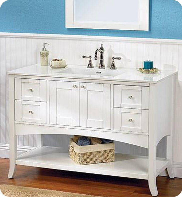 Fairmont Designs 185 Vh48 Shaker 49 Open Shelf Modern Bathroom Vanity In Polar White
