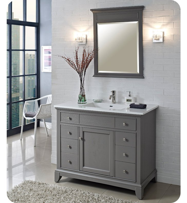 "Fairmont Designs 1504-V42 Smithfield 42"" Modern Bathroom Vanity in Medium Gray"