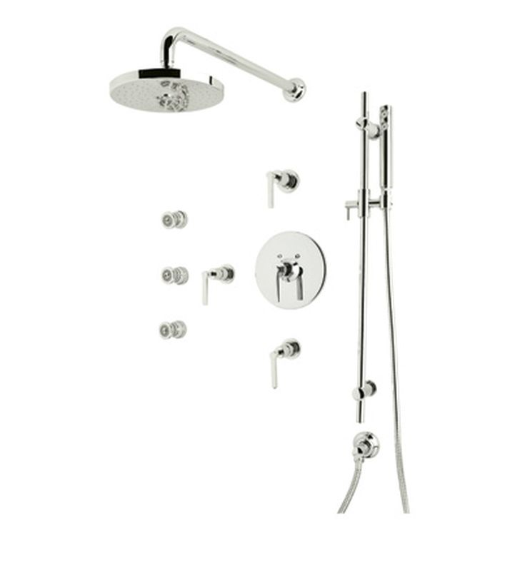 Rohl LOKIT26XM-PN Lombardia Shower Package With Cross Handles in Polished Nickel