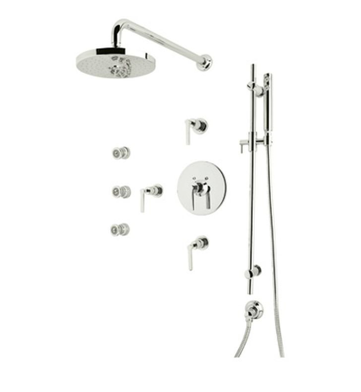 Rohl Lombardia LOKIT26LM-PN Shower Package With Metal Lever Handles in Polished Nickel