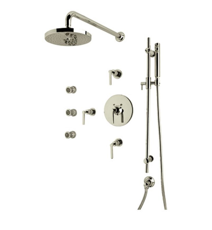 Rohl LOKIT26XM-STN Lombardia Shower Package With Cross Handles in Satin Nickel