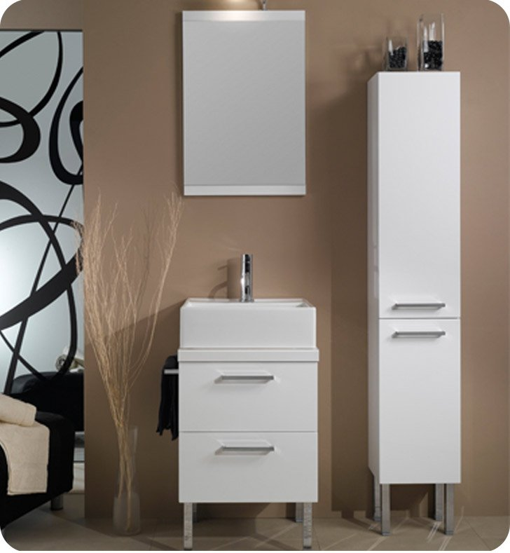 Nameeks A12-GW Iotti Modern Bathroom Vanity Set from Aurora Collection With Finish: Glossy White