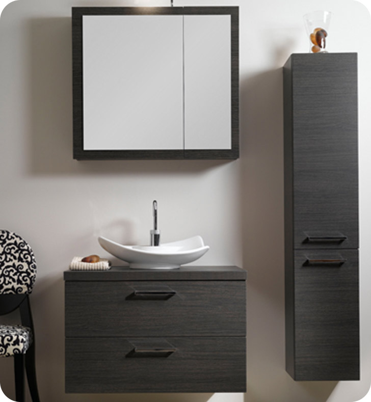 Nameeks A15-GO Iotti Modern Bathroom Vanity Set from Aurora Collection With Finish: Gray Oak
