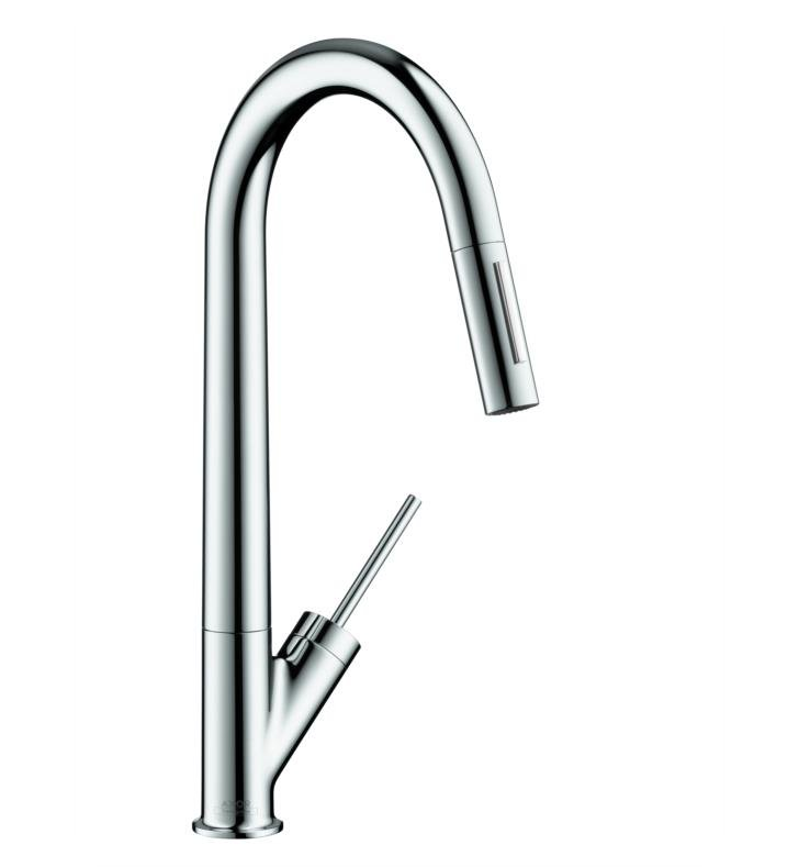 "Hansgrohe 10821001 Axor Starck 9 1/4"" Single Handle Deck Mounted 2-Spray High-Arc Pull-Down Kitchen Faucet With Finish: Chrome"