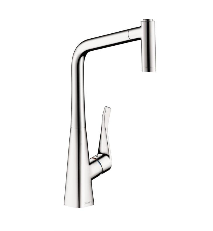 "Hansgrohe 14820 Metris 11 1/8"" Single Handle Deck Mounted 2-Spray High-Arc Pull-Out Kitchen Faucet"