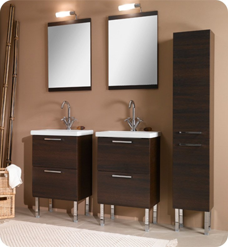 Nameeks L11-W Iotti Modern Bathroom Vanity Set from Luna Collection With Finish: Wenge