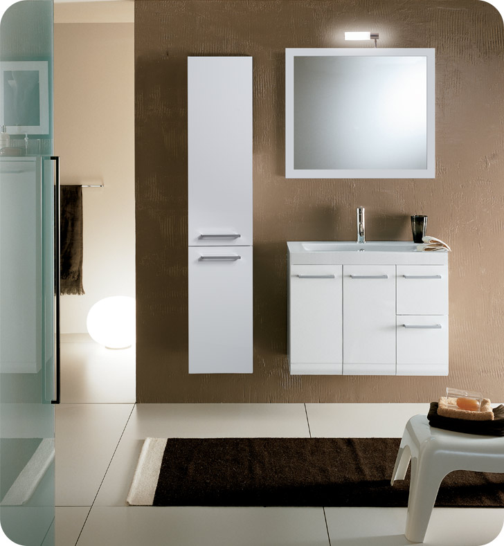 Nameeks LE3-NO Iotti Modern Bathroom Vanity Set from Linear Collection With Finish: Natural Oak
