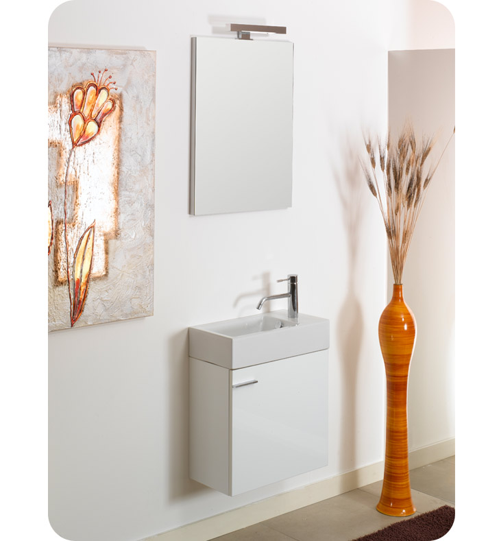 Nameeks LA4-GW Iotti Modern Bathroom Vanity Set from Lola Collection With Finish: Glossy White