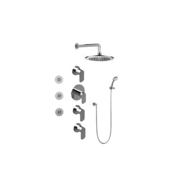 Graff GB1.132A-LM45S-PN Phase Contemporary Square Thermostatic Set with Body Sprays and Handshower With Finish: Polished Nickel And Rough / Valve: Trim + Rough
