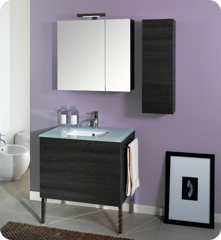Nameeks NT2-GW Iotti Modern Bathroom Vanity Set from Time Collection With Finish: Glossy White