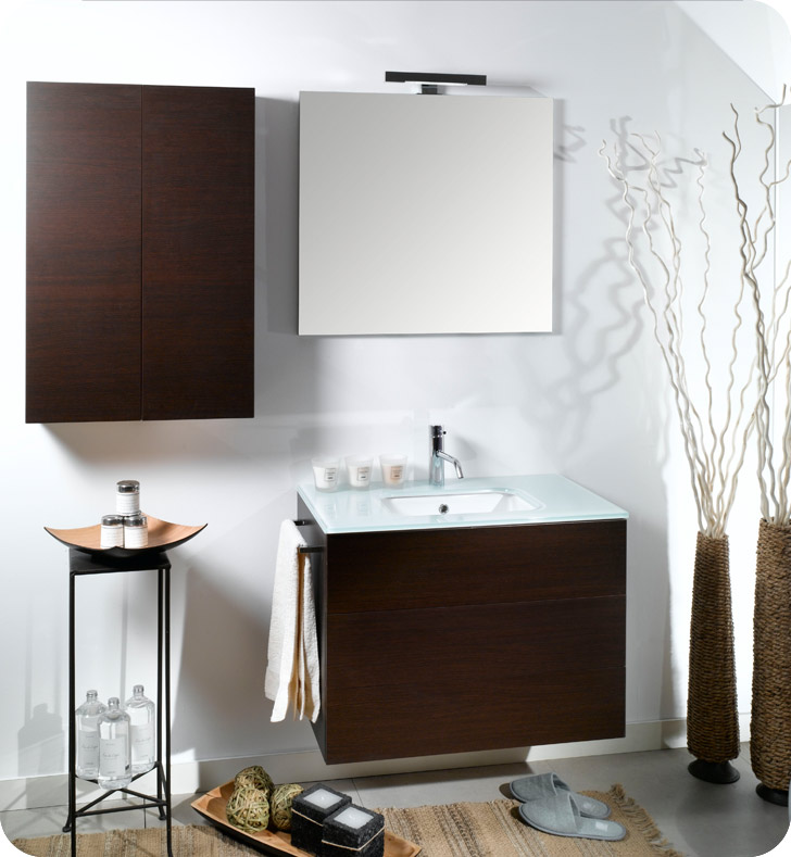 Nameeks NT5-W Iotti Modern Bathroom Vanity Set from Time Collection With Finish: Wenge