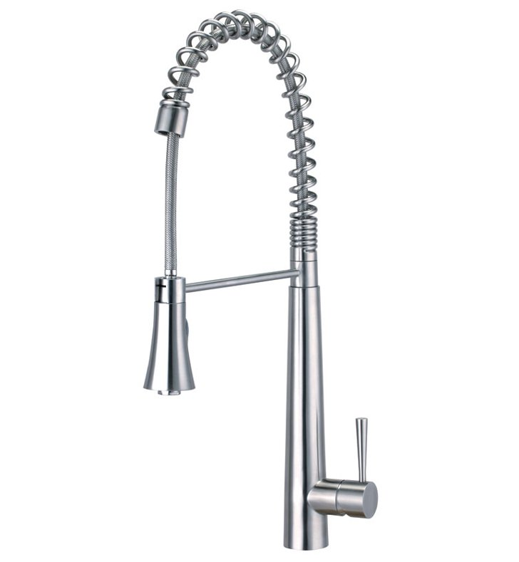 ALFI Brand AB2039S Commercial Spring Kitchen Faucet with Pull Down Shower Spray in Brushed Stainless Steel