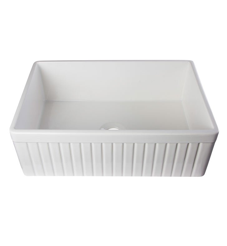 ALFI Brand AB509-W Single Basin Farmhouse Fireclay Kitchen Sink in White