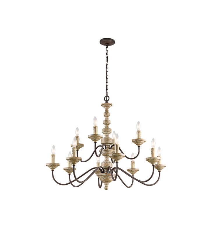 Kichler 43473VWW Briellis 12 Light 2 Tier Chandelier in Vintage Weat