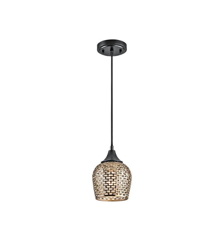 Kichler 43489BKGLD Annata 1 Light Mini Pendant in Black