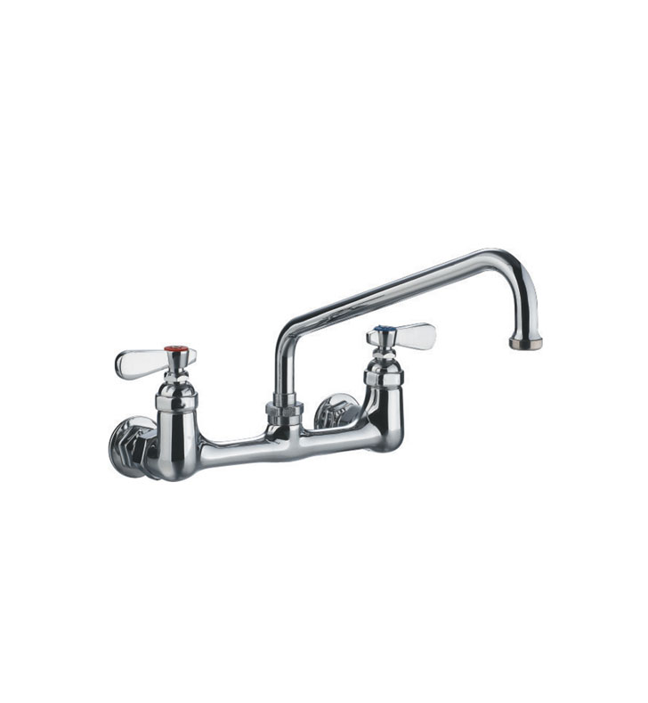 Whitehaus WHFS9814-08-C Heavy Duty Utility Bridge Faucet with Extended Swivel Spout and Lever Handles