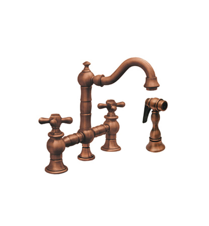 Whitehaus WHKBTCR3-9206 Vintage III Prep Bridge Faucet with Short Traditional Swivel Spout