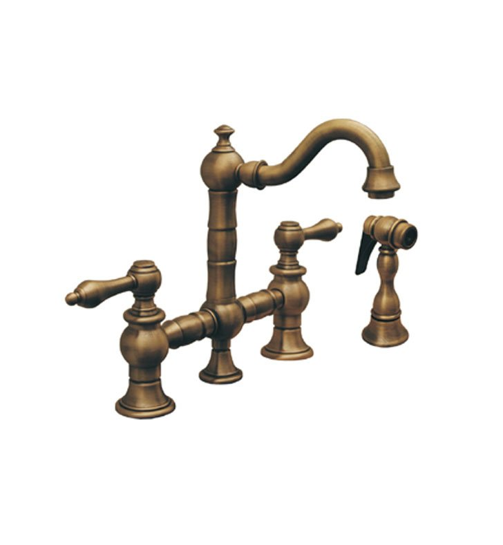 Whitehaus WHKBTLV3-9206 Vintage III Prep Bridge Faucet with Short Traditional Swivel Spout