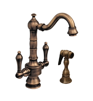 Whitehaus WHKSDTLV3-8204-AB Vintage III Prep Faucet with Short Traditional Swivel Spout With Finish: Antique Brass