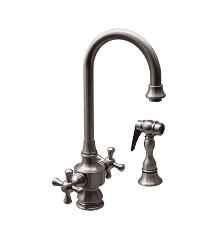 Whitehaus WHKSDCR3-8104-P Vintage III Prep Faucet with Short Gooseneck Swivel Spout With Finish: Pewter