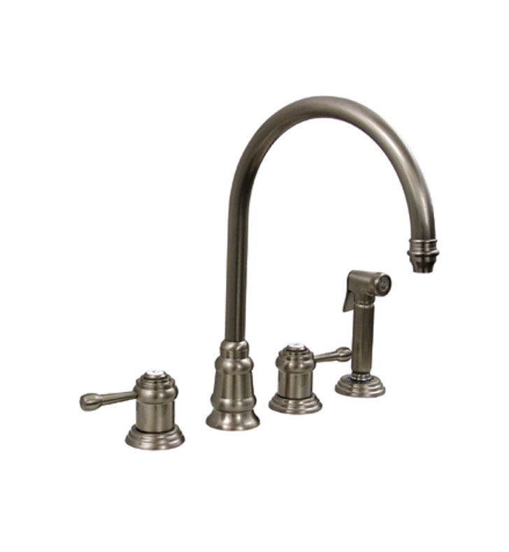 Whitehaus WH15664 Evolution widespread mixer with gooseneck swivel spout, lever style handles and solid brass side spray