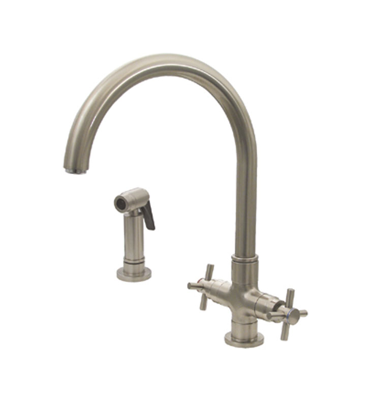 Whitehaus 3-03954CH85-BN Luxe+ dual handle faucet with gooseneck swivel spout, cross style handles and solid brass side spray With Finish: Brushed Nickel