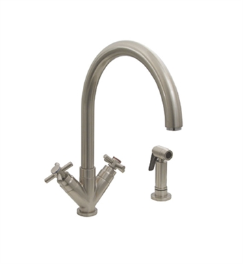 "Whitehaus 3-03942CH85 Luxe+ dual handle faucet with gooseneck swivel spout, ""V"" cross style handles and solid brass side spray"
