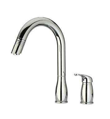 Whitehaus WHUS492-BN Metrohaus two hole faucet with independent single lever mixer, gooseneck swivel spout and pull-down spray head With Finish: Brushed Nickel