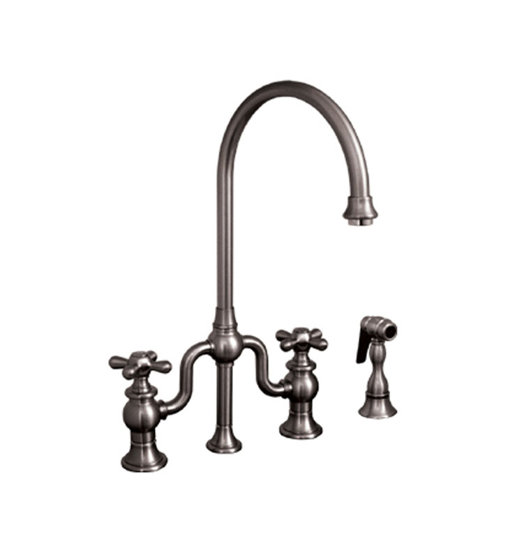 Whitehaus WHTTSCR3-9773SPR-ORB Twisthaus bridge faucet with long gooseneck swivel spout, cross handles and solid brass side spray With Finish: Oil Rubbed Bronze