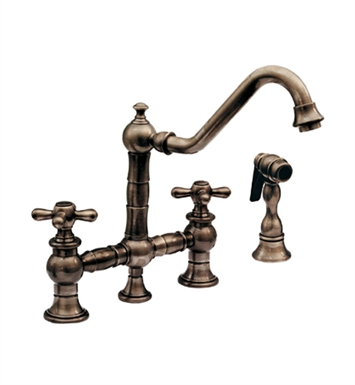 Whitehaus WHKBTCR3-9201-C Vintage III bridge faucet with long traditional swivel spout, cross handles and solid brass side spray With Finish: Polished Chrome