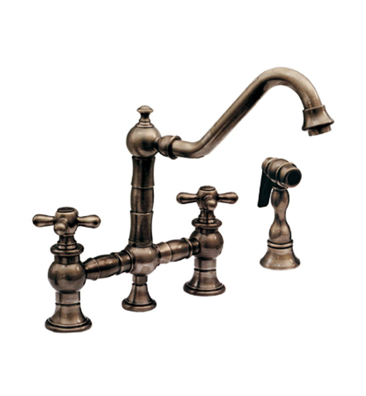 Whitehaus WHKBTCR3-9201-AB Vintage III bridge faucet with long traditional swivel spout, cross handles and solid brass side spray With Finish: Antique Brass