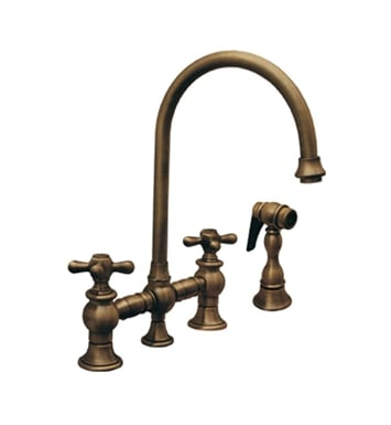 Whitehaus WHKBCR3-9101-BN Vintage III bridge faucet with long gooseneck swivel spout, cross handles and solid brass side spray With Finish: Brushed Nickel