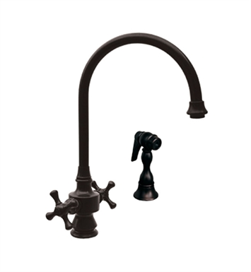 Whitehaus WHKSDCR3-8101 Vintage III dual handle faucet with long gooseneck swivel spout, cross handles and solid brass side spray