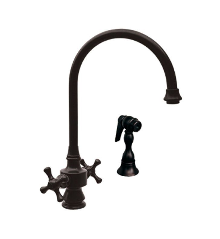 Whitehaus WHKSDCR3-8101-P Vintage III dual handle faucet with long gooseneck swivel spout, cross handles and solid brass side spray With Finish: Pewter