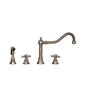 Whitehaus WHKCR3-4400-ACO Vintage III widespread faucet with long traditional swivel spout, cross handles and solid brass side spray With Finish: Antique Copper