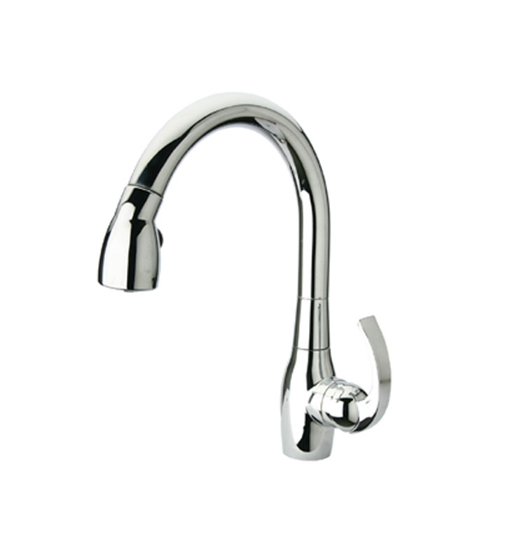 Whitehaus WHUS591M-C Metrohaus single hole faucet with gooseneck swivel spout and curved lever handle With Finish: Polished Chrome