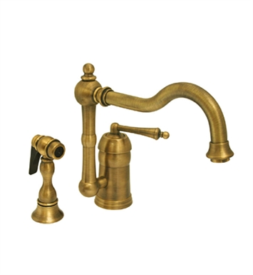 Whitehaus WH-3-3190 Legacyhaus single lever handle faucet with traditional swivel spout and solid brass side spray