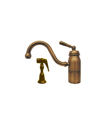 Whitehaus 3-3165-SPR-L-CO Beluga single handle faucet with traditional curved swivel spout, lever handle and solid brass side spray With Finish: Polished Copper