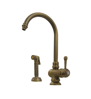 Whitehaus WH17666-PB Evolution colonial style single lever mixer with gooseneck swivel spout and fluted solid brass side spray With Finish: Polished Brass
