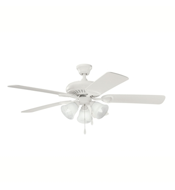 "Kichler 339400SNW Sutter Place Premier 50"" Indoor Ceiling Fan with 5 Blades with Pull Chain and Downrod"